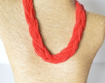Red necklace, statement red necklace, chunky necklace, boho, braided necklace, beaded necklace,carmin necklace,gift for her,bright red,gift
