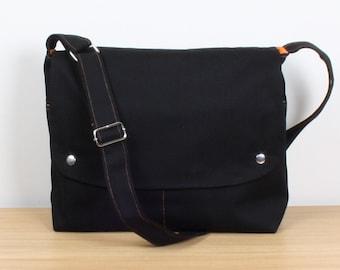 Men Messenger / Black Canvas / Orange Lining / Adjustable strap / Women Messenger / Travel Bag / BLACK CITY..