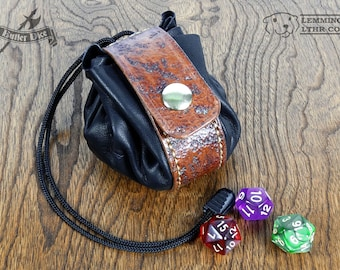 Handmade Leather Dice Bag - Distressed / Weathered - OOAK Pouch