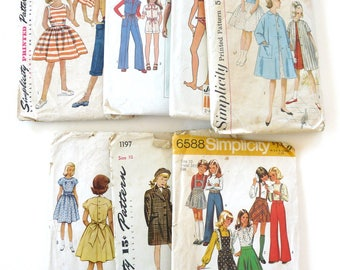 Size 10 girls lot 7 vintage sewing patterns 40s - 70s beach dress coat