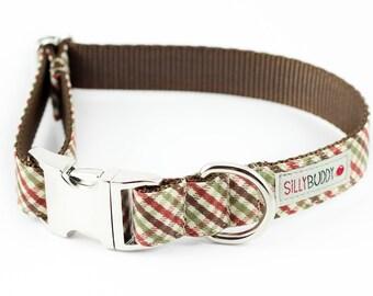 Brown Plaid Dog Collar
