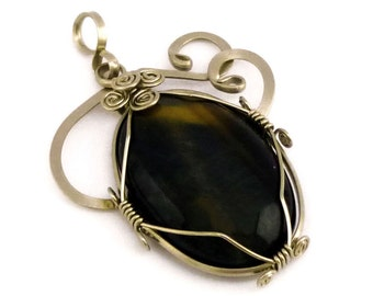 Wire Wrap Pendant, Gothic Pendant, Gemstone Pendant, Black Stone Pendant, Silver Pendant, Necklace Pendant, Dark Pendant, Silver Necklace