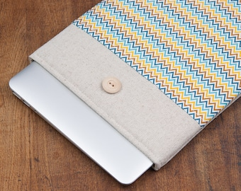 "30% OFF SALE White Linen MacBook 11"" Air Case with yellow blue chevron pocket. Case for MacBook 11 Air. Sleeve for MacBook Air 11"""