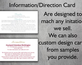 Affordable Wedding Info Card Add-on - Cheap Wedding Info Card ,Direction Card, Accommodations, Details, Unique, Custom, Simple, DIY, Classic