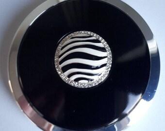 SALE Stratton Heritage Collection Zebra Silver Powder Compact Unused/Boxed ST1116