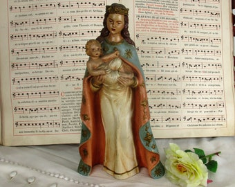 Lovely Statue Virgin Mary our Lady Madonna Infant Child Plaster Polychrome