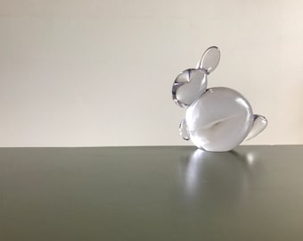 Crystal Clear Art Glass Rabbit Figurine / Glass Bunny Paperweight