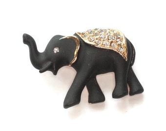 Black Enameled Elephant Brooch Rhinestone Saddle Matte Finish Pin Lucky Upturned Trunk Vintage