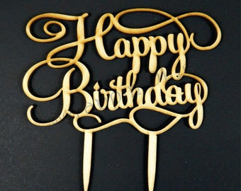 Happy Birthday Wooden Cake Topper, Laser