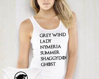 Direwolf Names Shirt, Direwolf Names Tank Top, Grey Wind Lady Nymeria Summer ShaddyDog Ghost Premium Soft Women Racerback Tank Top Shirt