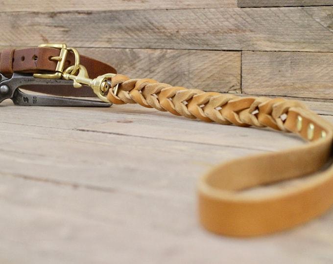 Braided dog lead, Strong leather leash, Sturdy dog lead, Traffic lead, Short leather leash, Training leash