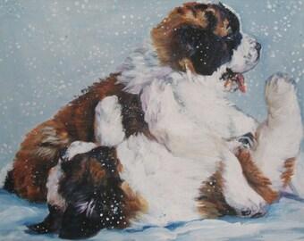 st Saint Bernard dog art CANVAS print of LA Shepard painting 8x10 puppies in snow
