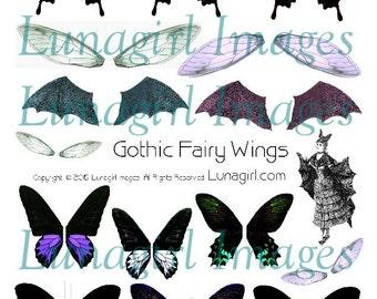 Gothic FAIRY WINGS digital collage sheet, printable ephemera Dark Faerie dragonfly butterfly bat wings altered art spooky Halloween DOWNLOAD