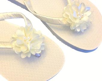 Bridal Wedge Flip Flops - Bridal Sandals - Wedding Flip Flops - Platform Flip Flops - Beach Wedding - Custom Color Flowers - Flip Flops