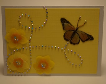 Handmade Yellow Daffodil and Monarch Butterfly Card
