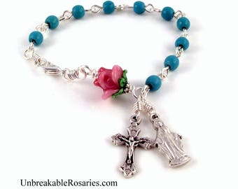 Virgin Mary Rosary Bracelet in Turquoise Magnesite w Pink Lampwork Rose by Unbreakable Rosaries