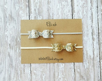 Gold bow headband, baby headband, gold bow headband, silver bow headband, glitter bow headband, silver bow , bow headband set, gold bow