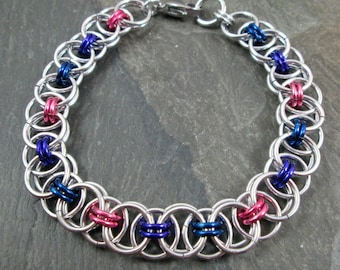Chainmaille Bracelet - Helm Chainmaille - Bisexual Pride - Chainmail Jewelry - Bi Pride Jewelry - Pink, Purple and Blue