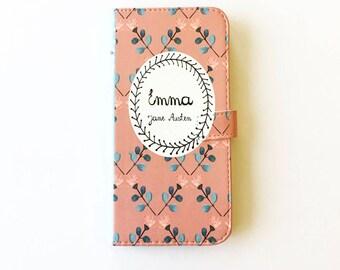 Jane Austen Gift, Emma Phone Case, Jane Austen iPhone Case, Book Phone Case, Book iPhone Case, iPhone 8, Wallet Phone Case