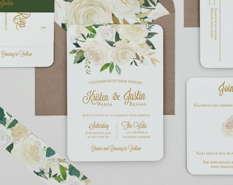 White Floral Wedding Invitation Template,Rustic Floral Wedding Invitation Digital Download,Rustic White Floral Wedding Printable Invitation
