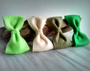 4 Felt Bow hair clips - Girls, Accessories, Felt, Bows, Colors, Green, By ktnunna