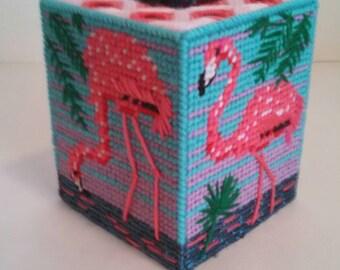 Pink Flamingo Tissue Box Cover