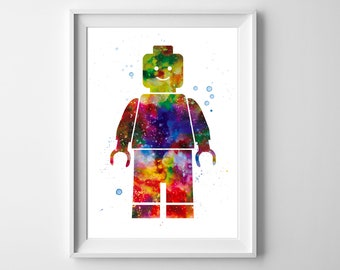 Lego Man minifigure art - Watercolor Print, Boys nursery decor, Wall art, Wall decor, Watercolor painting, Birthday gift, Nursery wall art