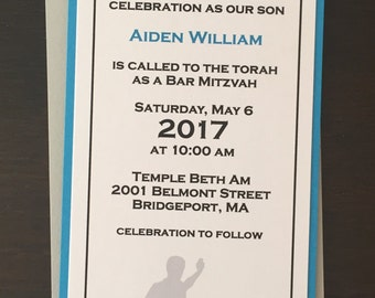 Soccer Bar Mitzvah Invitation set with reply