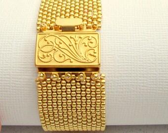 gold beaded jewelry seed bead beaded bracelet  gold beadwork cuff fine jewelry