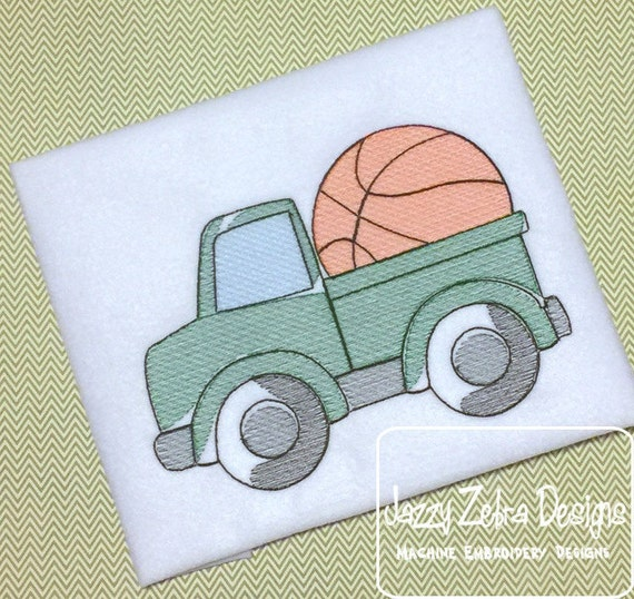 Truck with basketball Sketch Embroidery Design - truck Sketch Embroidery Design - boy Sketch Embroidery Design - basketball Sketch