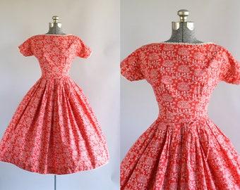 Vintage 1950s Dress / 50s Cotton Dress / Lanz Originals Red and White Novelty Print Dress w/ Waist Tie S