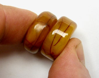 2 African COPAL Amber Beads #09  24mm X 10mm & 24mm X 9mm