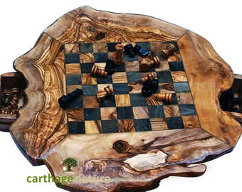 "Father's day present, birthday gift, wedding anniversary, olive wood rustic chess set board 11.8"", daddy gift, home decor, mom gift,"