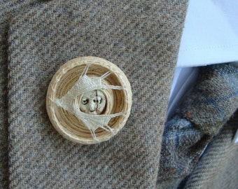 Lapel Pin, Catching the Moon. Cream. Bone, Moonface BR5