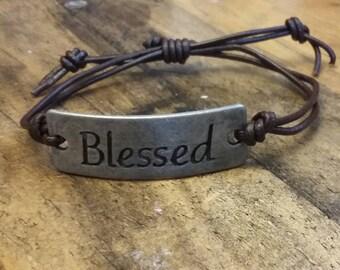 Blessed leather pull string bracelet