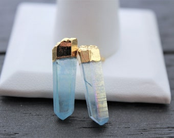 Quartz Earrings Boho Earrings Crystal Point Stud Earrings Aura Quartz Earrings Clear Quartz Earrings Gold Quartz Earrings Raw Quartz Jewelry