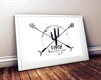 Gypsy Soul Digital Print | Boho Wall Art | Southwestern Wall Decor | Digital Art Print | Cactus Design | Gypsy Soul | Desert Art Print |