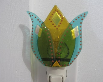 Whimsical Tulip Fused Glass Night Light with incredible attention to detail