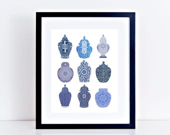 blue & white ginger jar print from playing card patterns, fine art giclee limited edition print chinese porcelain vase chinoisierie wall art