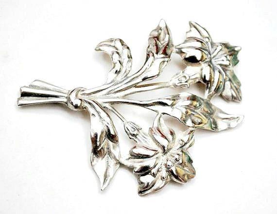 Sterling Flower Brooch  Signed Danecraft  Large Art Nouveau floral Silver pin 29 grams gift for her