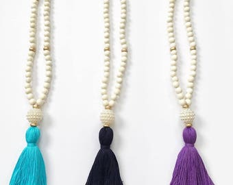 Pearl Bead Tassel Necklace - Beaded Tassel Necklace - Tassel Necklace - Pearl Tassel Necklace