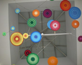 Supernovas mobile, giant sized metal hanging art, stainless steel and hand painted aluminum