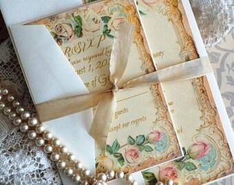 Vintage Roses Wedding Invitation SAMPLE Handmade by avintageobsession on etsy