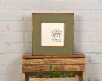 """6x6"""" Picture Frame in 2.25 Reclaimed Wood with Vintage Old Green Finish - In Stock - Same Day Shipping - 6 x 6 Square Frame Rustic"""