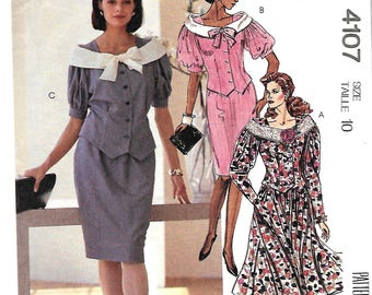 McCall's 4107 Misses Gathered Skirt And Top With Collar Variations, Two-Piece Dress Pattern, Size 10 UNCUT