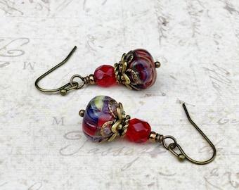Red Earrings, Garnet Earrings, Ruby Earrings, Blue Earrings, Antique Gold Earrings, Victorian Earrings, Czech Glass Beads, Gifts for Her