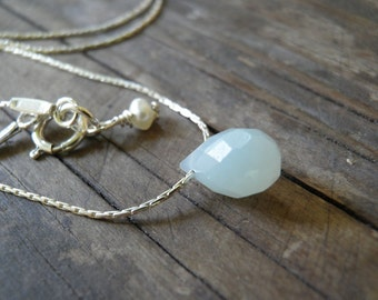 Silver Necklace, Tiny Amazonite Teardrop Necklace, Sterling Silver Necklace, Minimalist Necklace, Delicate Necklace, Layering Necklace