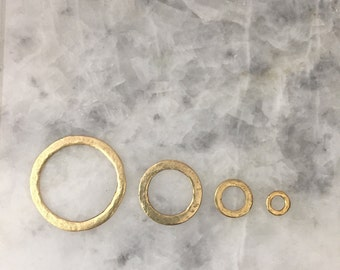 Connector Ring, GOLD Hammered Donut, Pewter, Seamless, Jewelry Supplies, 24K gold dipped