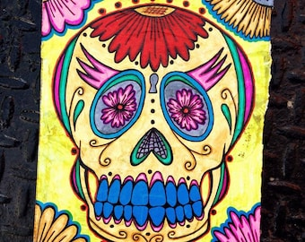 Day of the Dead Sugar Skull with Flowers