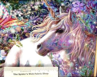 "DREAMLAND Fabric Panel ...A beautiful scenic panel with Unicorn, Fairies and Flowers -- 24"" x 44"""
